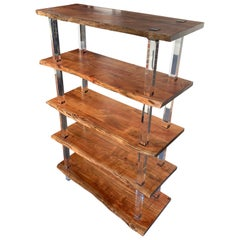 Large Walnut Slap And Acrylic Étagère Or Bookcase