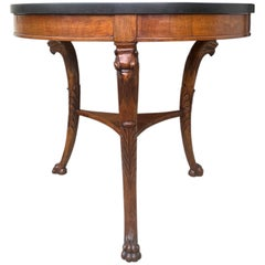 19th Century Continental Directoire Style Walnut Center Table, Black Marble Top