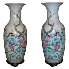 Pair 19th C. of Daoguang Dynasty Chinese Porcelain Vases Decorative Object CA LA