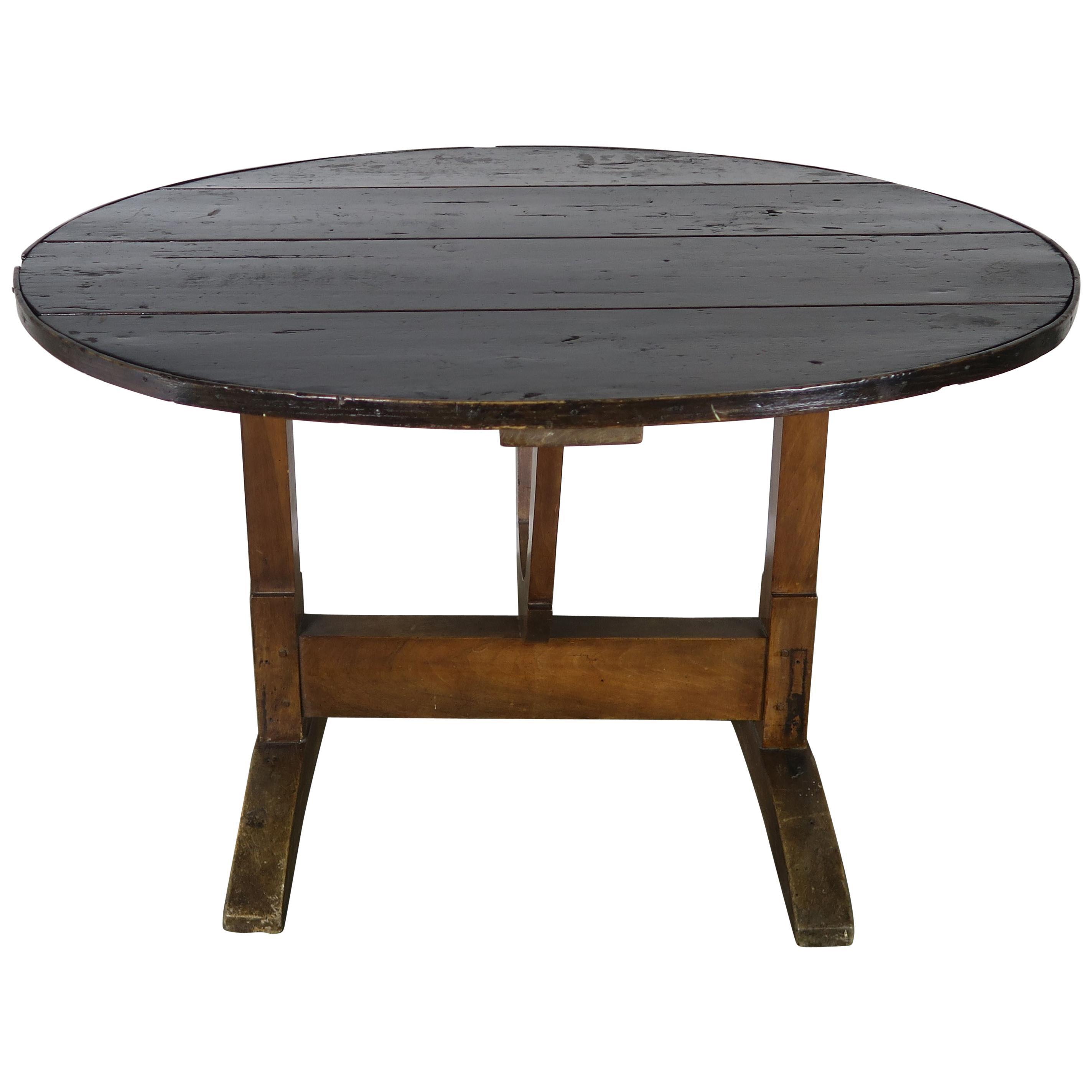 19th Century French Walnut Tilt-Top Wine Tasting Table