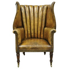 Howard & Sons English Brown Leather Channel Back Wingback Library Chair