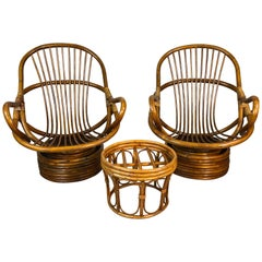 1960s Rattan Lounge Chairs with Ottoman, 3 Pcs