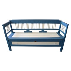 French XIX Painted Long Bench with 2 Side Arms, High Back and a Long Deep Drawer