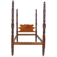 American Empire Four Poster Bed with Acanthus Carvings, circa 1820