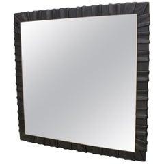 Pair of Square Leather Wall Mirror by Vereinigte Werkstätten München, 1960s