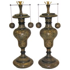 Carved Brass Pair of Arabesque Floral Vase Table Lamps, 1970s