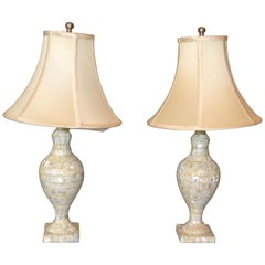 Vintage Capiz Shell Table Lamps with Shades, Pair
