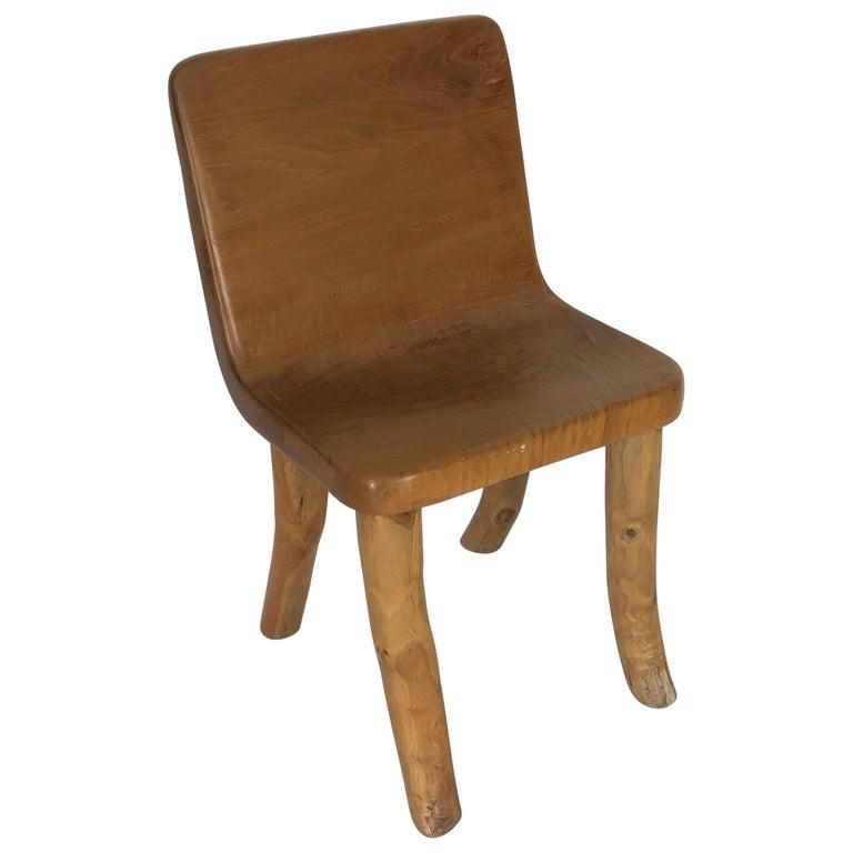 Unique Carved Teak Chair #2 For Sale