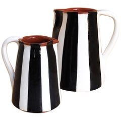 Handmade Ceramic Striped Jug with Graphic Black and White Design, in Stock