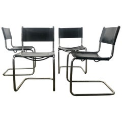Set of 4 Black Leather and Chrome Bauhaus Style Side Chairs After Mart Stam