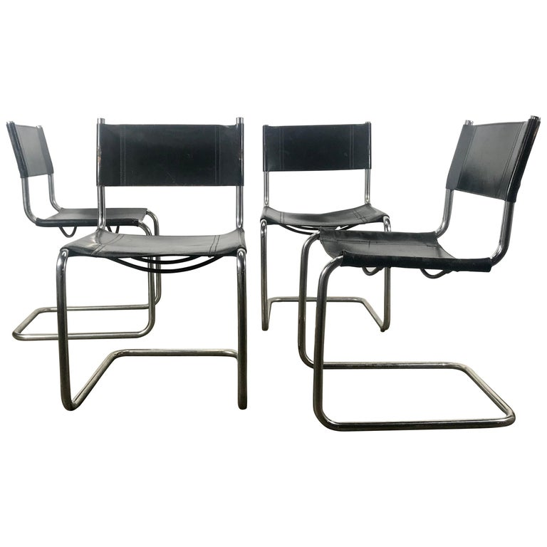 Set Of 4 Black Leather And Chrome Bauhaus Style Side Chairs After Mart Stam For Sale At 1stdibs