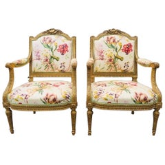19th Century French Fauteuil Armchairs in Giltwood