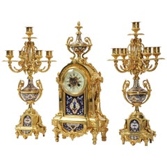 Cloisonné Enamel Mounted Ormolu Antique French Clock Set