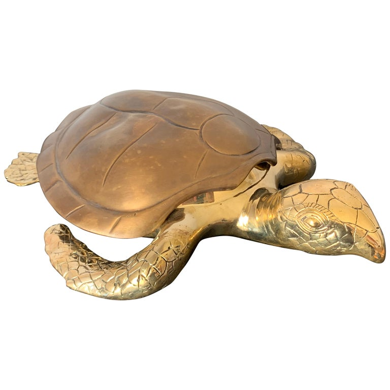 Brass Turtle Sculpture Jewelry Box For Sale