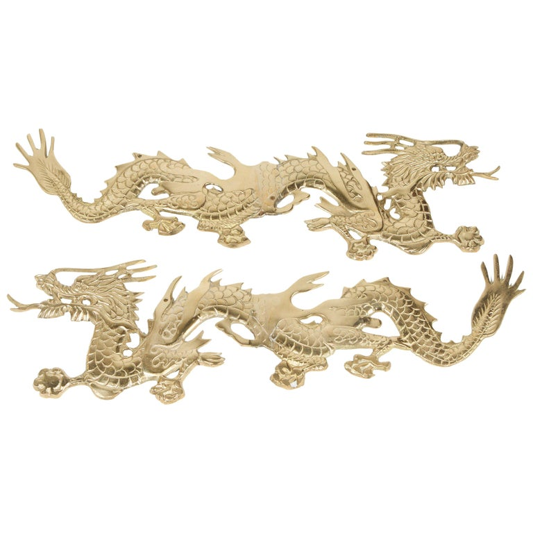 Large Pair of Asian Cast Brass Dragons Chasing a Ball Wall Mount For Sale