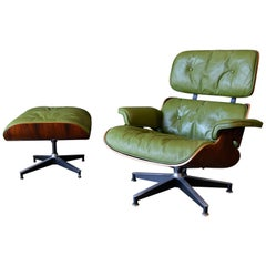 Avocado Green Leather Eames Lounge Chair and Ottoman, 1967