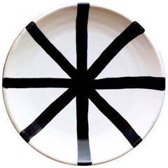 Handmade Ceramic Segment Salad Plate with Graphic Black & White Design, in Stock
