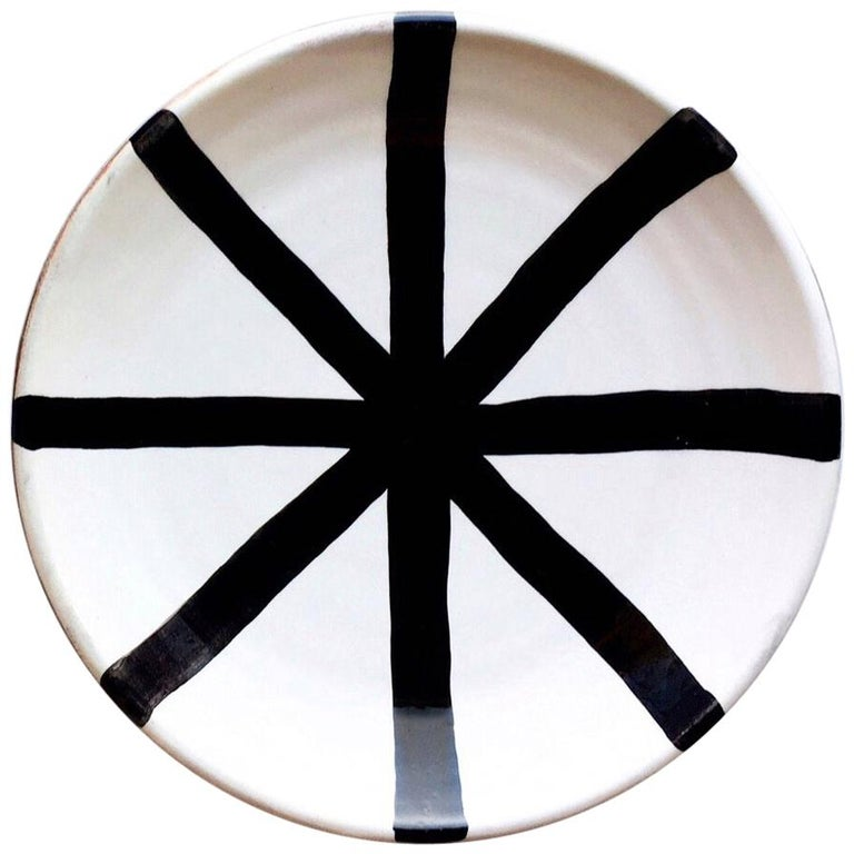 Graphic Tray Handcrafted From Ivory And: Handmade Ceramic Segment Salad Plate With Graphic Black