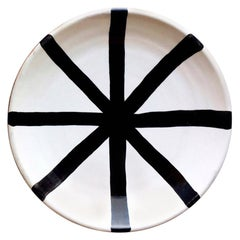 Handmade Ceramic Segment Dinner Plate with Graphic Black and White Design