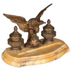 19th Century French Marble Inkwell with Bronze Eagle
