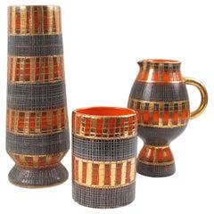 Fratelli Fanciullacci for Bitossi and Raymor Italian Sgrafitto Pottery Vase Trio