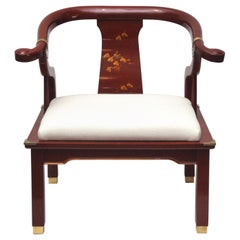 Red Lacquered James Mont Style Horseshoe Chair