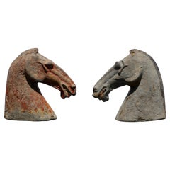 Pair of Han Dynasty Horse Heads (206BC - 220AD) Attributed