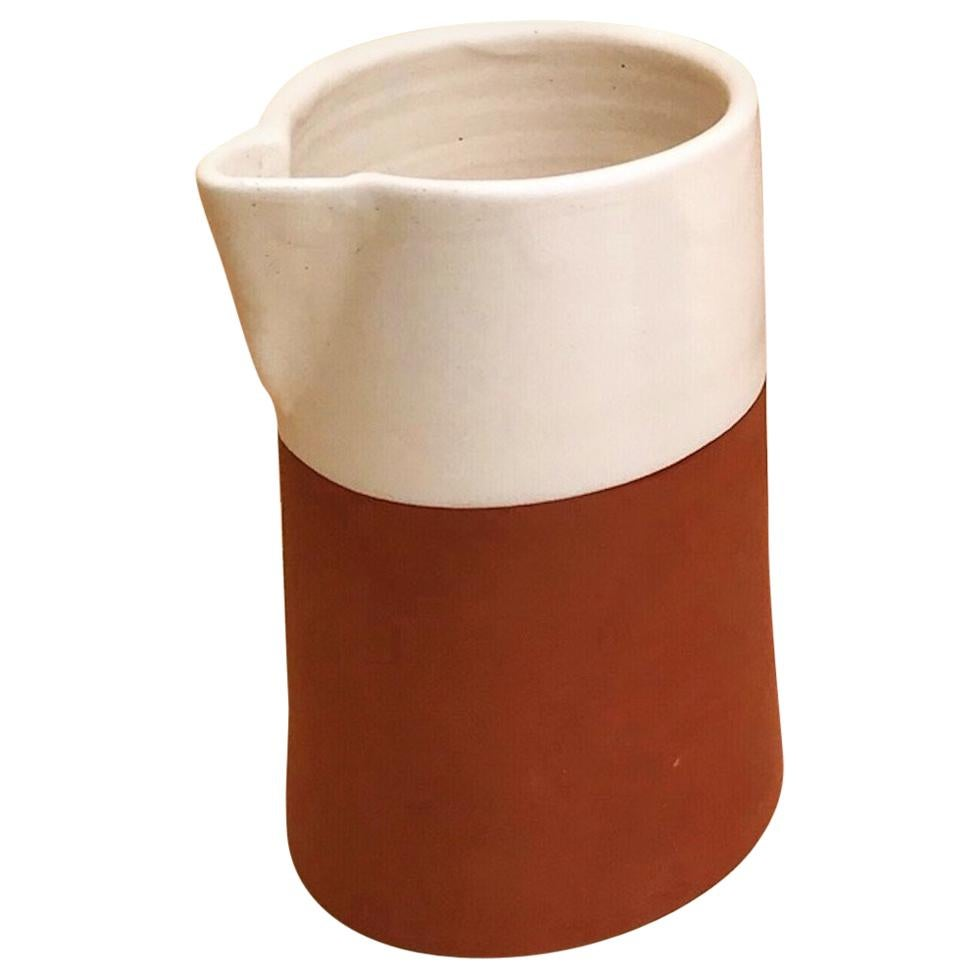 Handmade Ceramic Cylinder Rustic Carafe in Stone and White Design, in Stock
