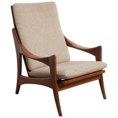 "Organic Solid Teak High Back Easy Chair Designed by the ""Ster"" Gelderland, 1950s"