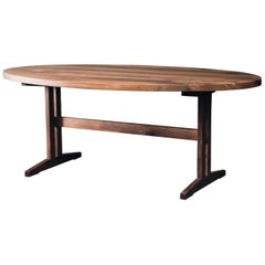 Hingham Oval Dining Table with Walnut Trestle Base by Hopes Woodshop