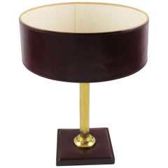 Jacques Adnet Red Hand-Stitched Leather-Clad Table Lamp