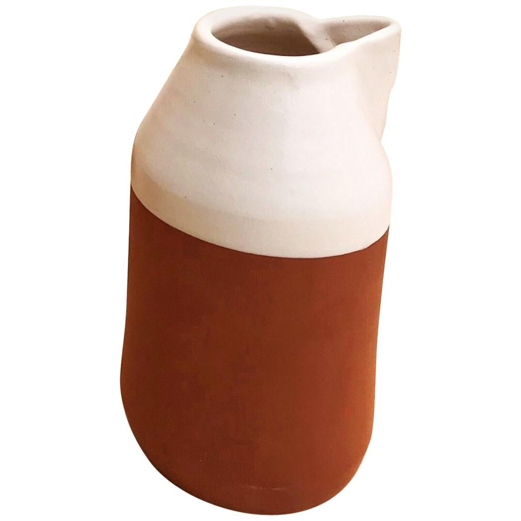 Handmade Ceramic Angle Rustic Carafe in Stone and White Design, in Stock