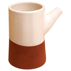 Handmade Ceramic Spout Rustic Carafe in Stone and White Design, in Stock