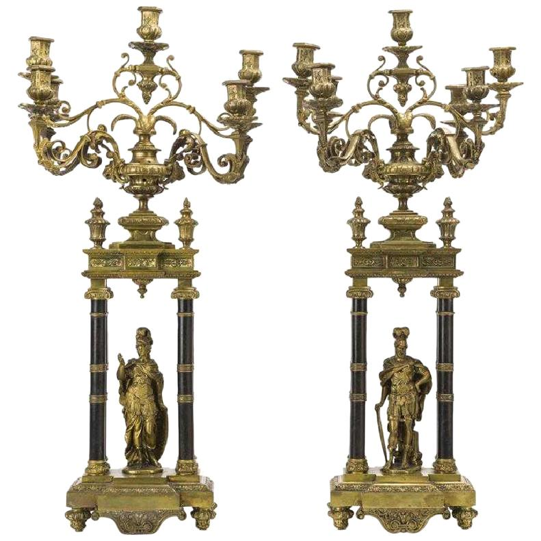 Pair of French Louis XVI Style Bronze Candelabras, 19th Century