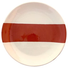 Handmade Ceramic Rectangle Salad Plate in Terracotta and White, in Stock
