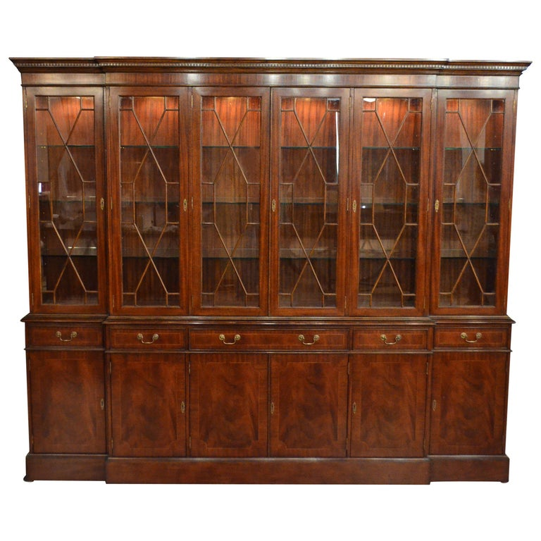 Large Mahogany Georgian Style Six-Door Bookcase China Cabinet by Leighton Hall For Sale
