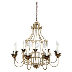 Rare Tan Painted Belle Époque Style Birdcage Chandelier with Rock Crystals