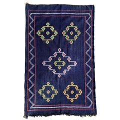 Denim Blue Moroccan Kilim Rug Tribal Cotton Flat-Weave Handmade Atlas Mountains