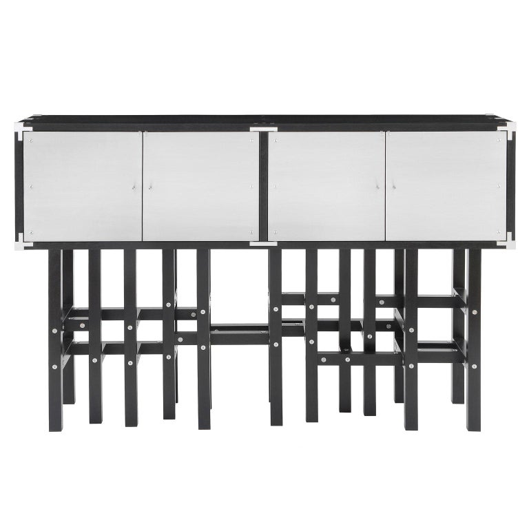 Industrial Modern Liquor Cabinet with Metal Doors and Black Wood, In Stock For Sale