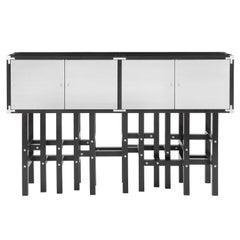 Ganymede Modern Liquor Cabinet with Metal Doors and Black Wood, Buffet Sideboard