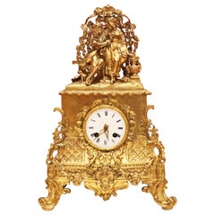 Mantel Clock with a Couple, French, Late 19th Century