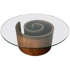 Vladimir Kagan Walnut Snail Coffee Table With Round Glass Top