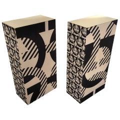 Salvatore Ferragamo Medium Brass and Fabric Upholstered Display Pedestals