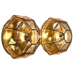 Limburg Pair of Large Vintage Iron Bubble Glass & Brass Flush Mount Wall Lights