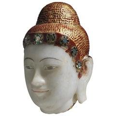 Antique Burmese Alabaster Buddha Head, Mandalay