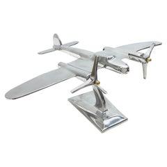 Industrial Vintage Metal Aircraft Plane Model Desk Item Statue, circa 1980s