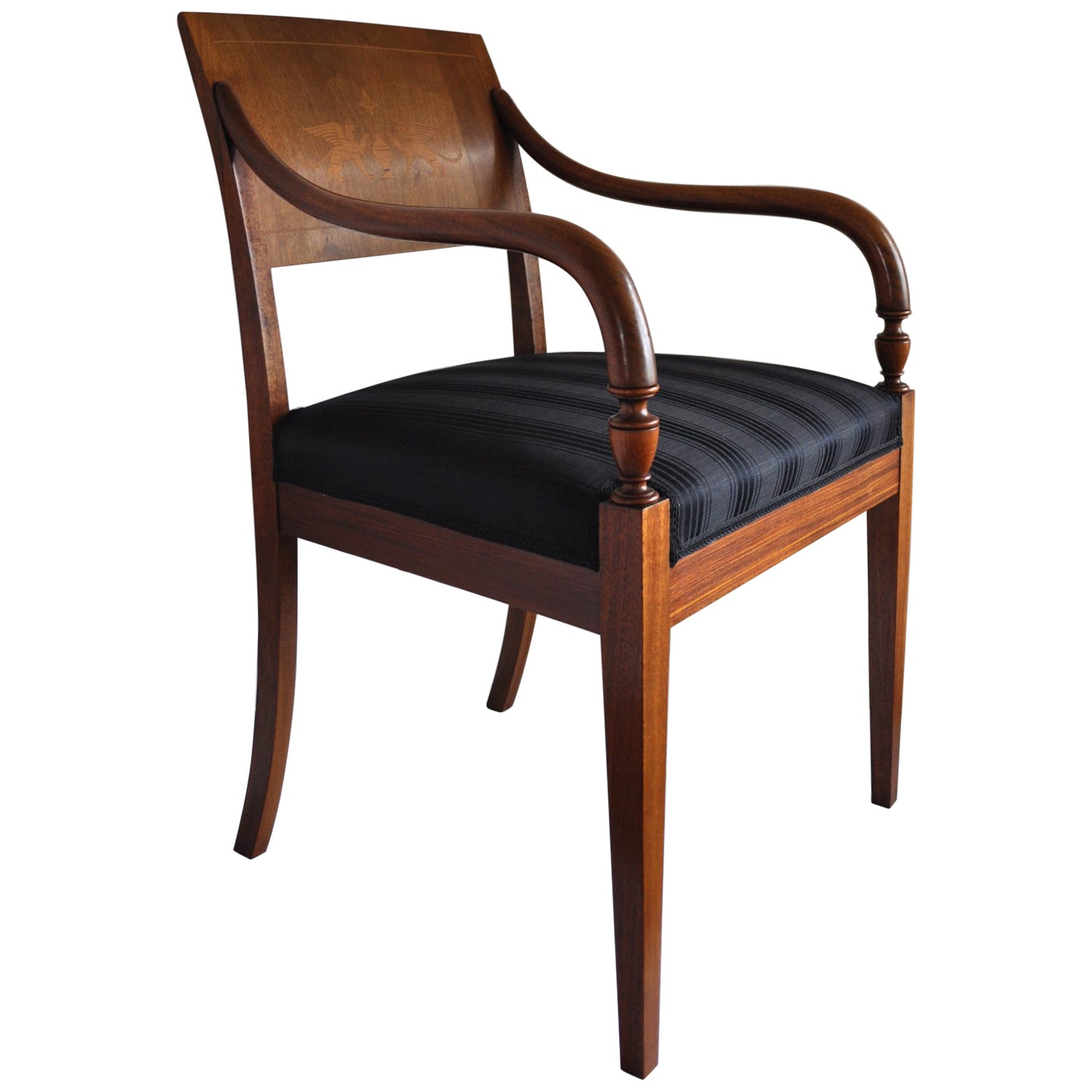Danish Empire Armchair in Mahogany with Birch Inlays