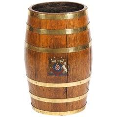 19th Century Oval Brass Bound Barrel Umbrella Stick Stand