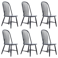 Six Swedish Black Wood Dining Chairs by Bengt Akerblom and G. Eklöf, Sweden