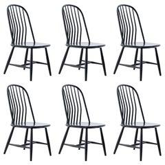 Six Swedish Black Wood Dining Chairs by Bengt Akerblom and G. Eklöf, Sweden